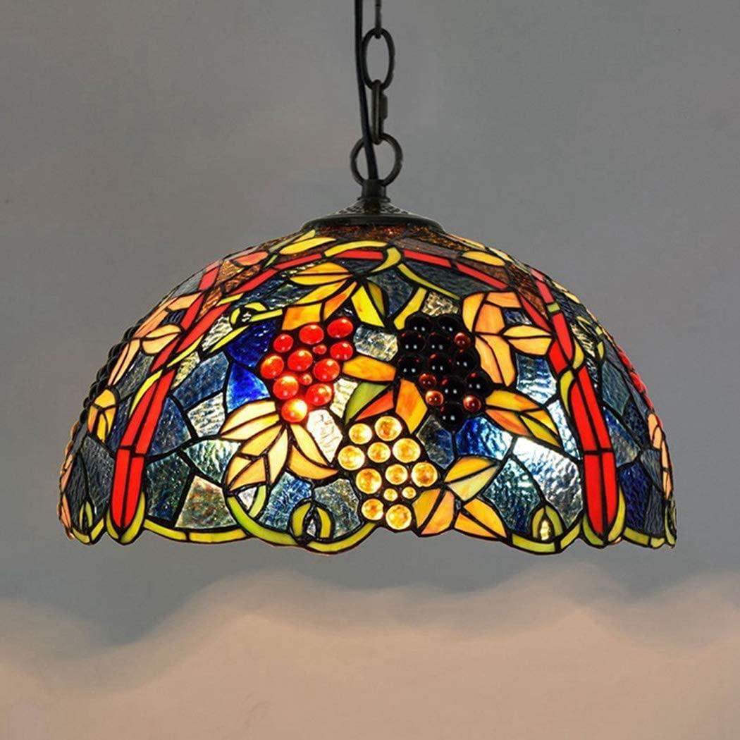 DIMPLEYA Tiffany Style Pendant Light, Retro Creative Restaurant Art Hanging Light Red Glass and Jewelled Grape Art Creativity Design Ceiling Lamp