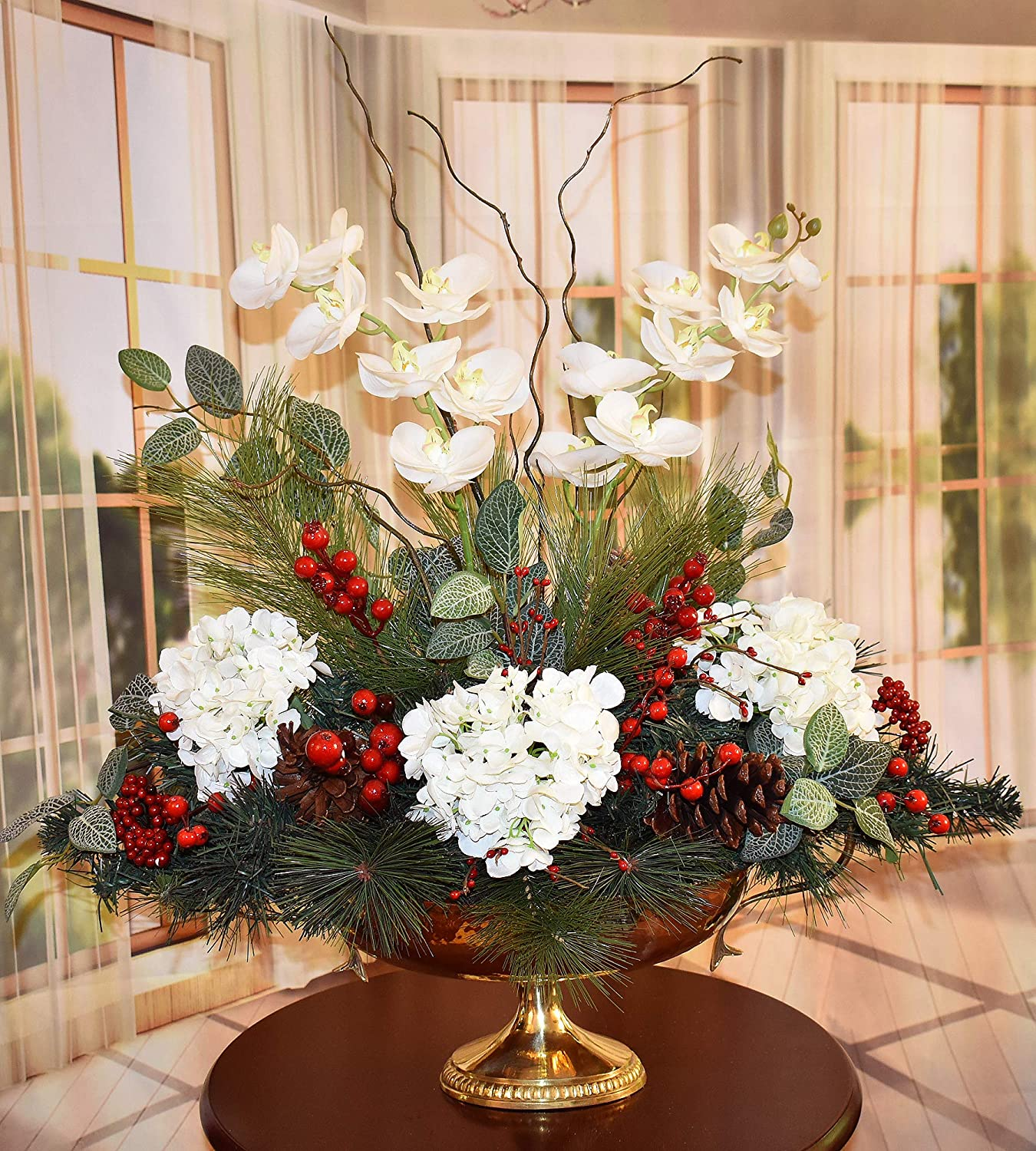 Grande Orchid and Hydrangea Winter Floral in Brass