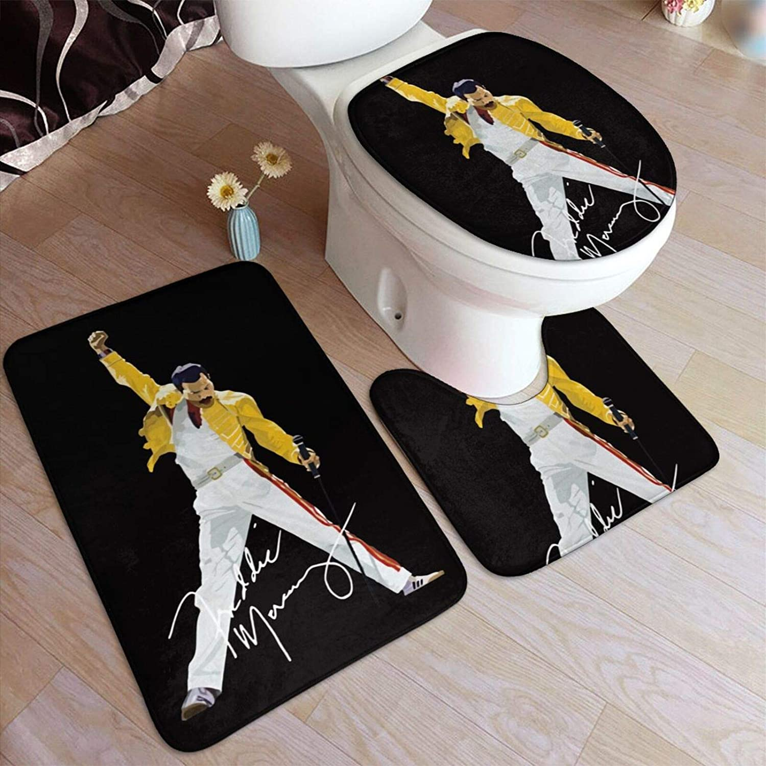 Freddie Mercury Bathroom Rug Mats Set 3 Piece Anti-Skid Pads Bath Mat + Contour + Toilet Lid Cover Bathroom Antiskid Pad