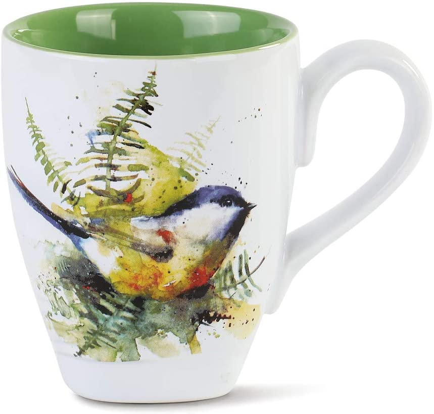 Dean Crouser Spring Chickadee Watercolor Green 16 ounce Glossy Ceramic Stoneware Mug