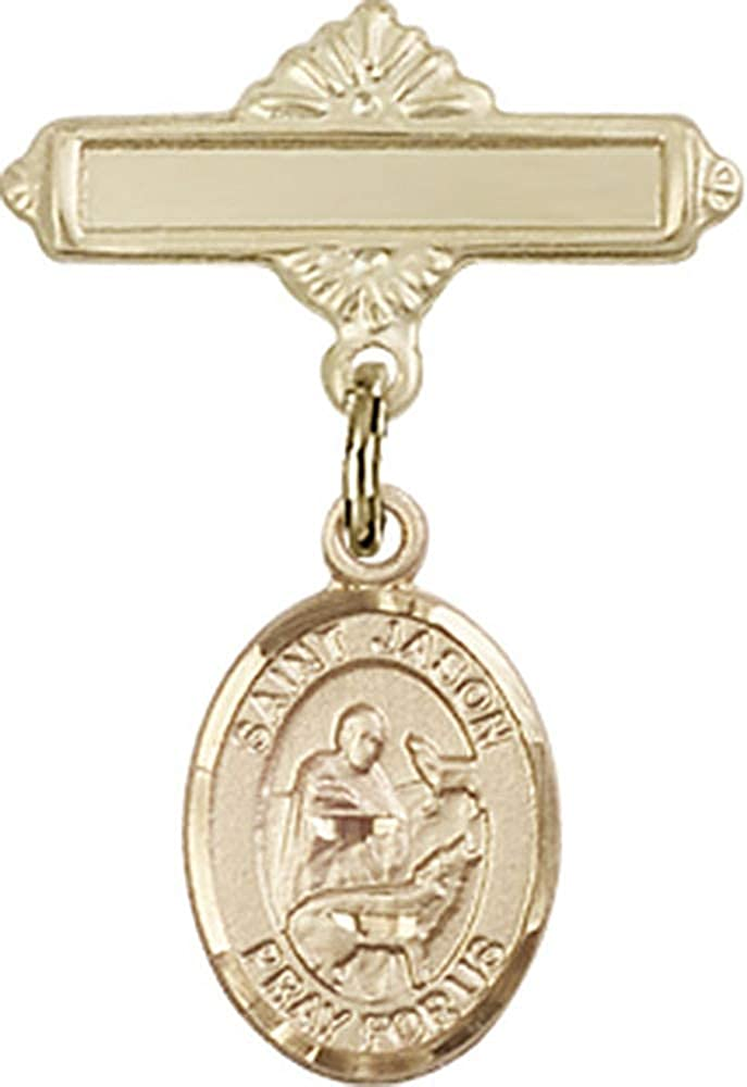 14kt Gold Filled Baby Badge with St. Jason Charm and Polished Badge Pin St. Jason is the Patron Saint of Those Named Jason 1 X 5/8