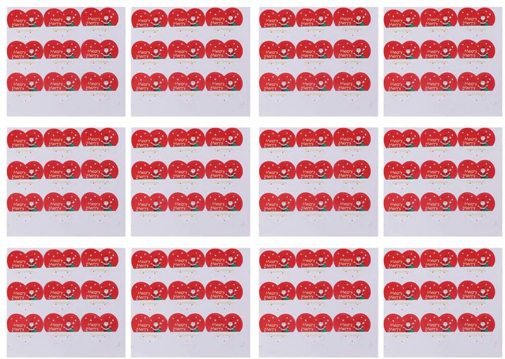 PRETYZOOM 450pcs Christmas Sealing Sticker Self-adhensive Heart Santa Claus Gifts Lable Decals Xmas Decoration for Packing Wrapping Scrapbooking (Red)