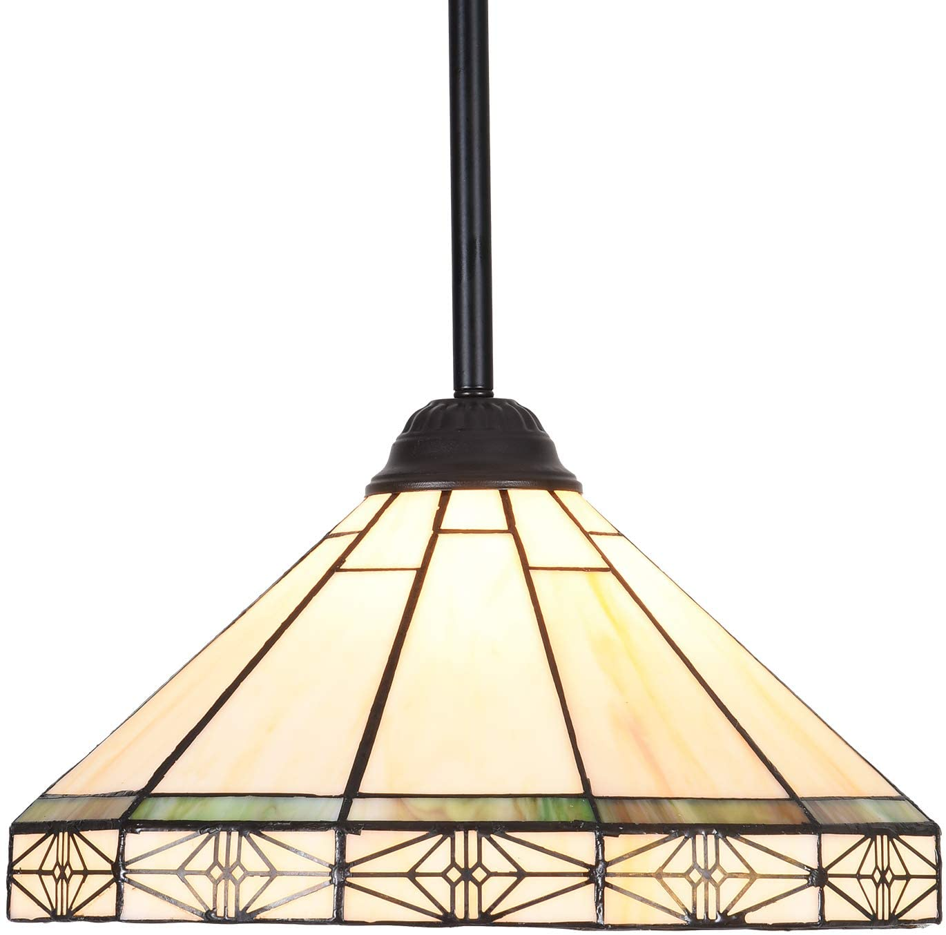 Capulina Tiffany Style Kitchen Lighting, 1-Light Stained Glass Lighting Fixtures, 12.2 inch Wide Lampshade Mini Pendant Light, Mission Style Kitchen Island Lighting, Tiffany Hanging Pendant Light