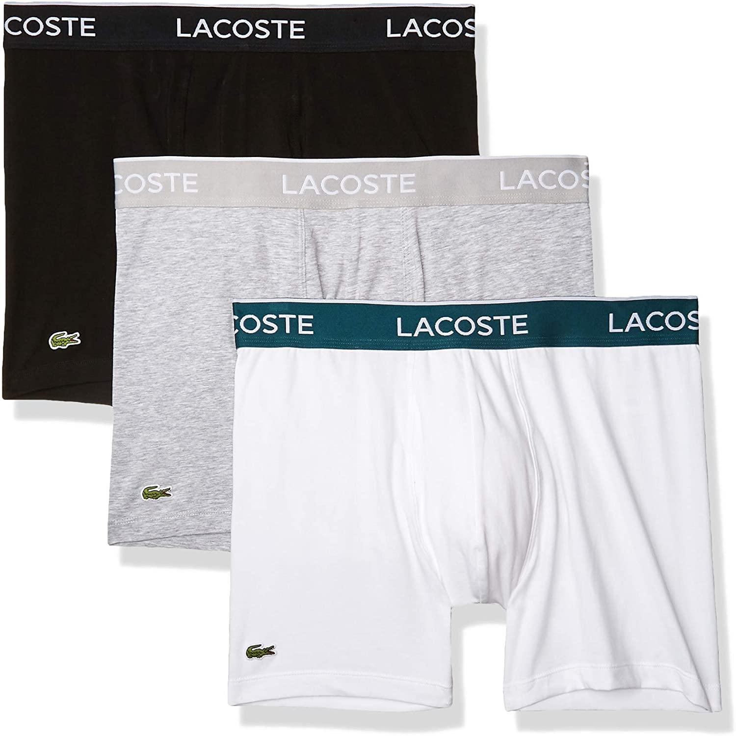 Lacoste Mens Casual Classic 3 Pack Cotton Stretch Boxer Briefs