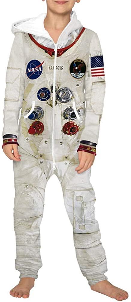 JooMeryer Kids Boys Girls Hooded Playsuit Galaxy NASA Pajama Jumpsuits