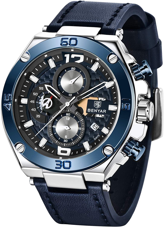 BENYAR - Wrist Watch for Men, Genuine Leather Strap Watches, Quartz Movement, Waterproof Analog Chronograph Business Watches