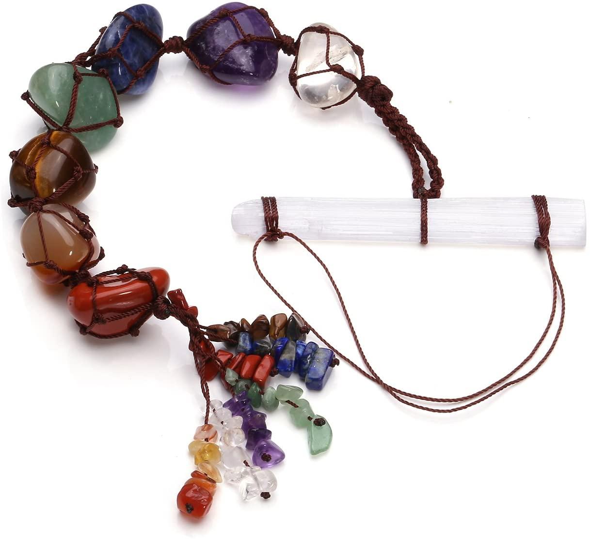Jovivi Chakra Ornament Set - Selenite Crystal + 7 Chakra Tumbled & Chipped Gemstones Tassel Spiritual Meditation Hanging Ornament/Window Ornament/Feng Shui Witch Yoga Decor