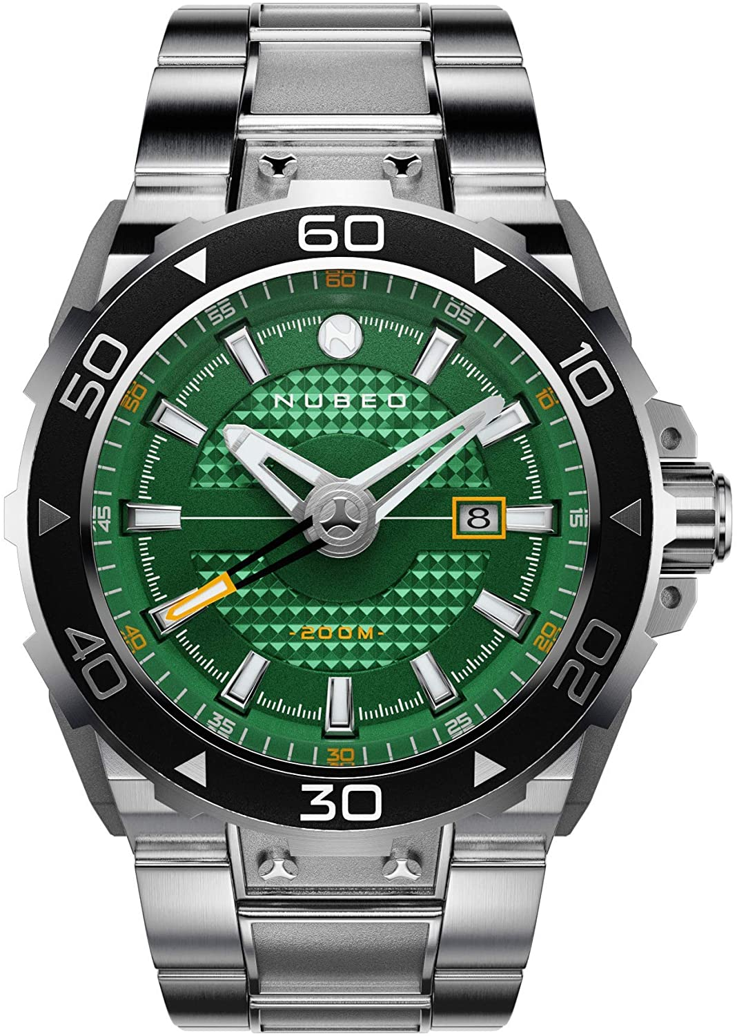 Nubeo Explorer Men's Automatic 3 Hands Watch with Green dial and Solid Stainless Steel Bracelet - NB-6014-22
