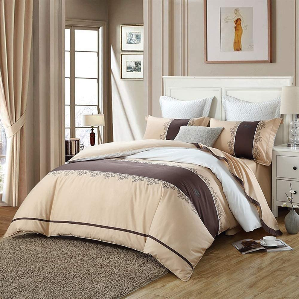 Rebily European Style Cotton Embroidery Four-Piece Set Chinese Traditional Embroidery Simple Atmospheric Bedding (Color : Beige)