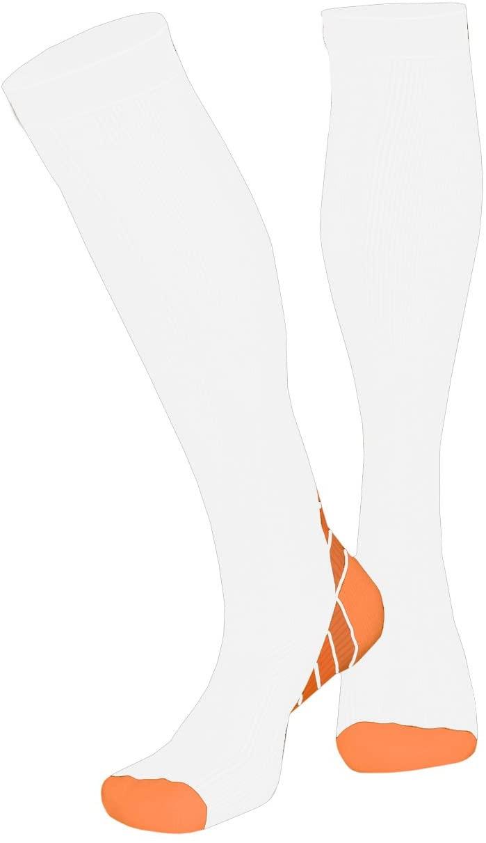 T5RSOX Compression Socks Women Best for Travel, Nurses, Pregnancy, 40-45mmHg, White/Orange, Small