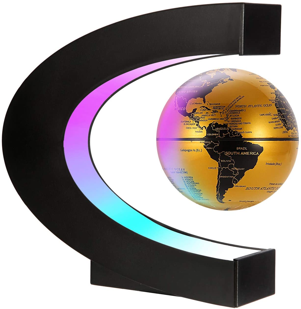 Gresus Magnetic Levitation Floating World Map Globe with C Shape Base, Floating Globe with LED Lights, Great Fathers Students Teacher Business Birthday Gift (Gold)