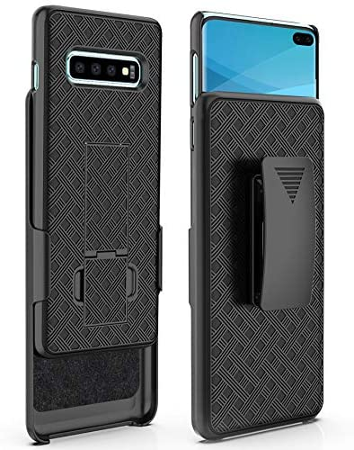 S10 Plus Case, Moona Shell Holster Combo Case for Samsung Galaxy S10 Plus Case with Kickstand & Belt Clip '3 Year Warranty' Galaxy S10 Plus Belt Clip Case, Thin Galaxy S10 Plus Holster Case