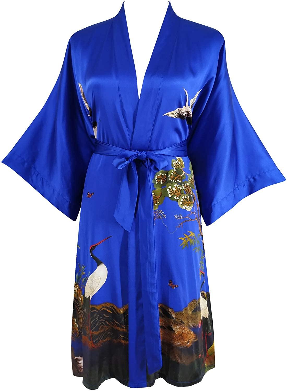 Ledamon Women's 100% Silk Kimono Short Robe