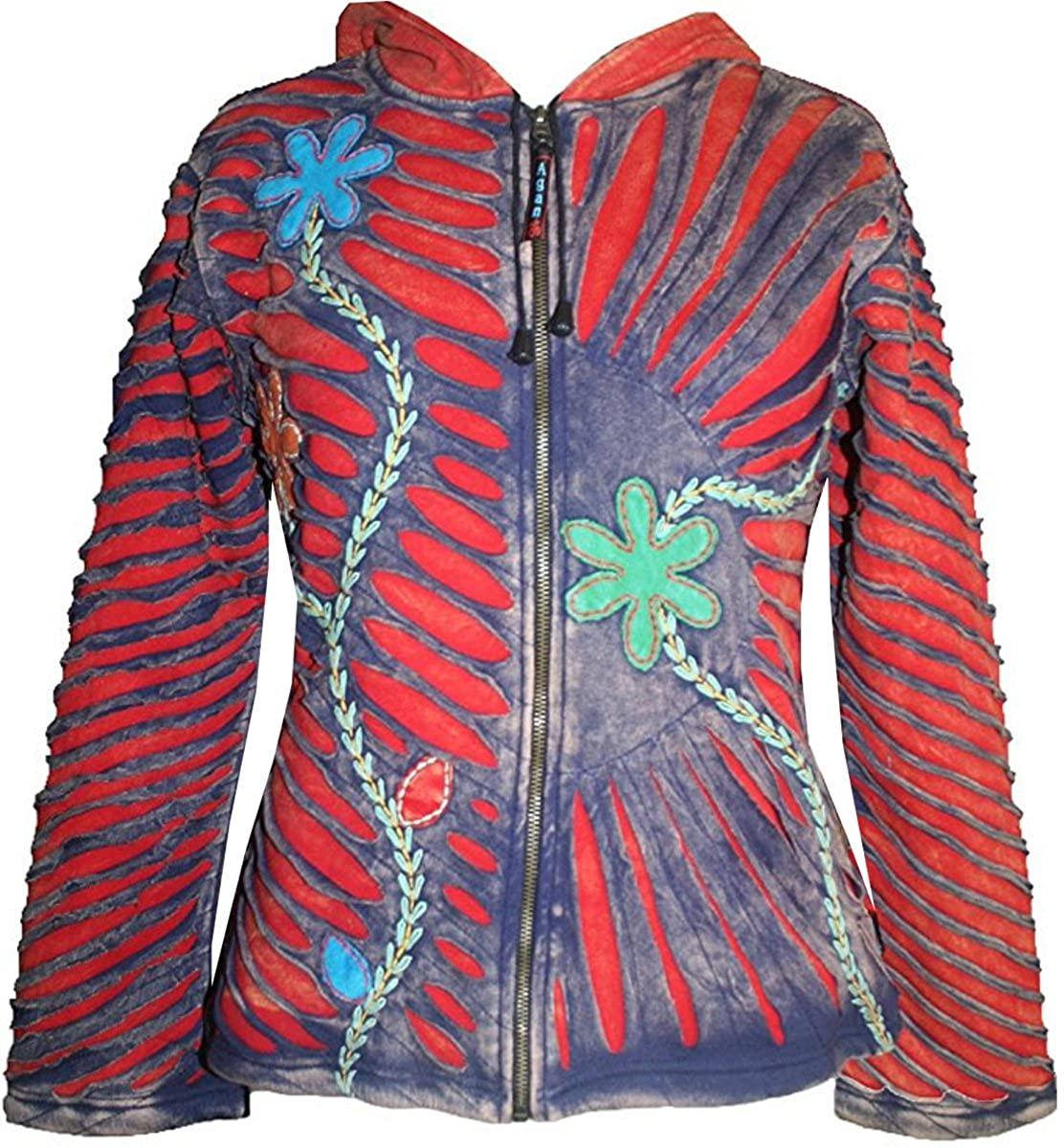Agan Traders RJ 313 Women's Patch Funky Fleece Insulated Bohemian Outwear Winter Jacket