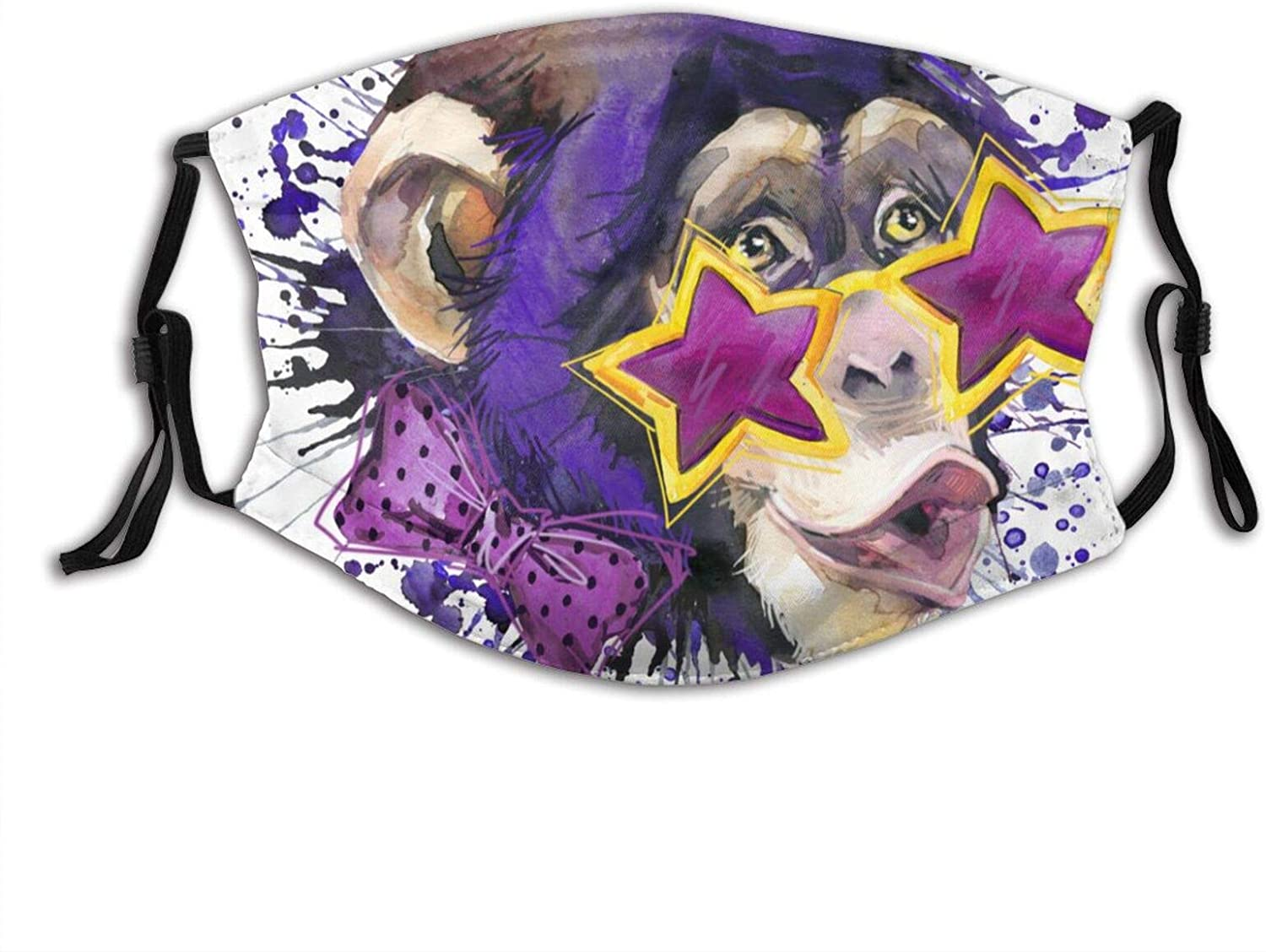 Funny Monkey Humming And Wearing Stylish Pentagram Glasses Face Mask With Filter Pocket Washable Reusable Face Bandanas Balaclava With 2 Pcs Filters