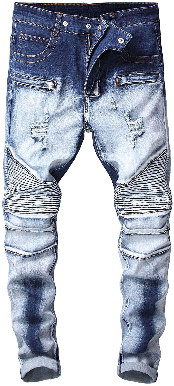 Men's Skinny Fit Ripped Distressed Biker Jeans Stretched Moto Denim Pants