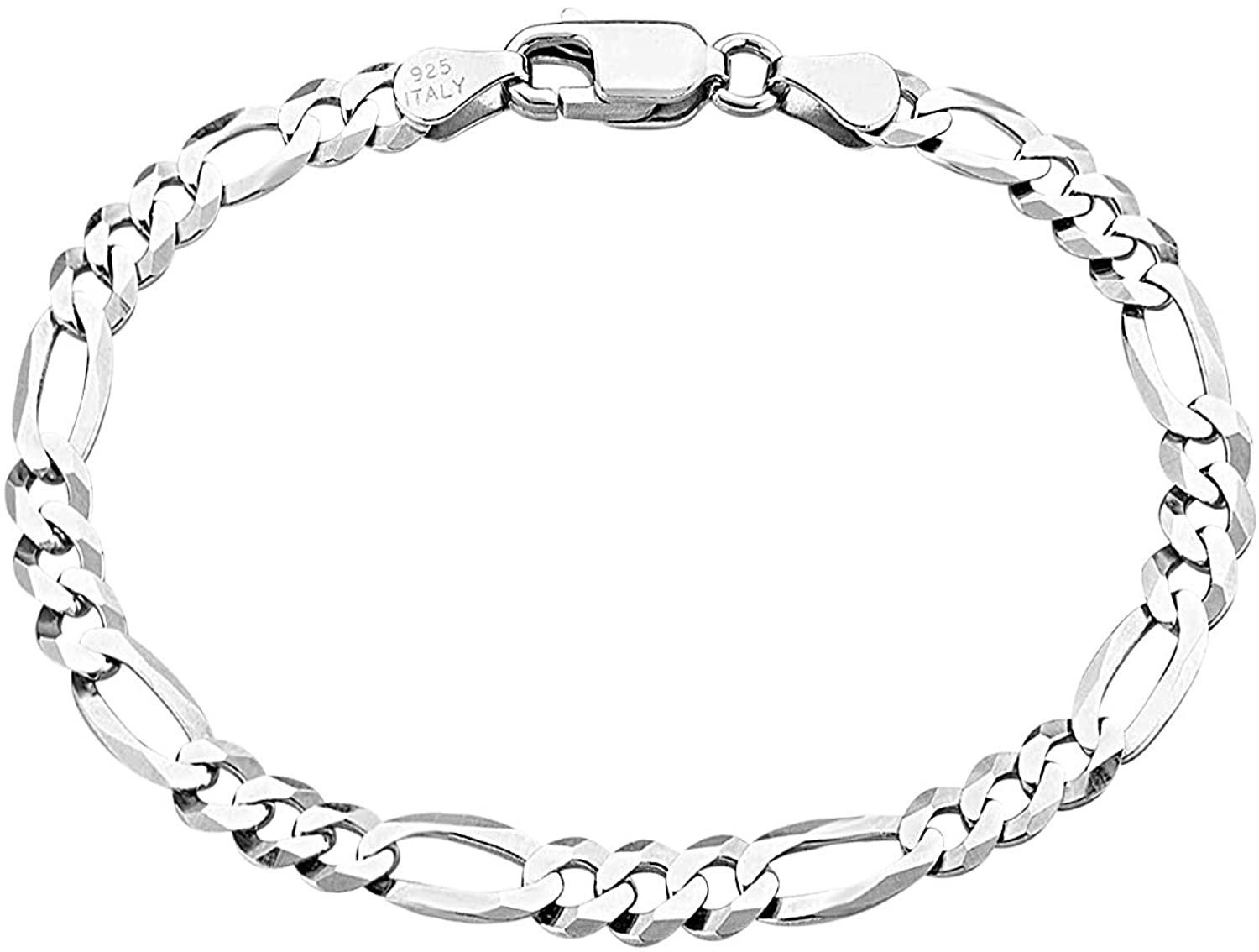 Savlano 925 Sterling Silver Italian Solid Figaro Link Chain Bracelet With Gift Box For Men & Women - Made in Italy