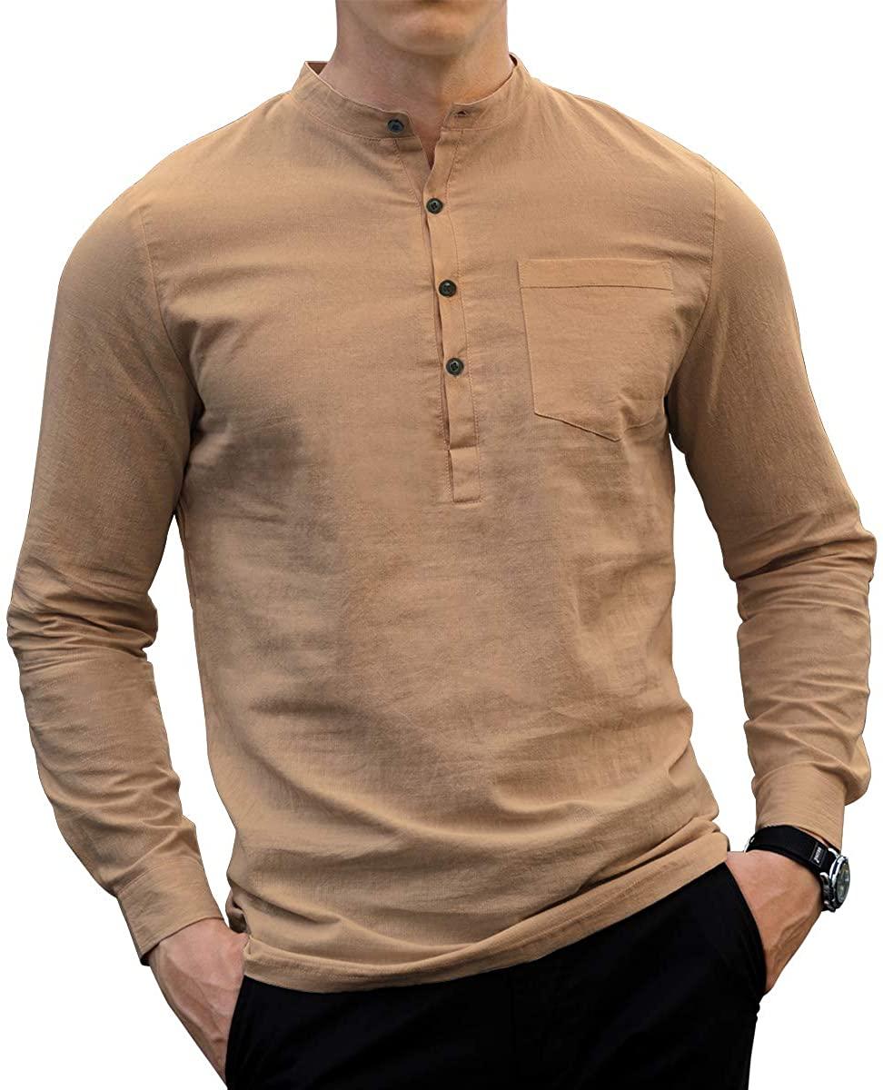 LOGEEYAR Men's Linen Shirts Long Sleeve Beach Henley Shirt Regular Fit Solid Cotton Tops
