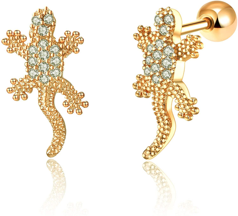 CZ Gecko Ear Studs Helix Piercing Cartilage Earring Conch Rook Tragus Stud Ear Piercing Jewelry (gold)