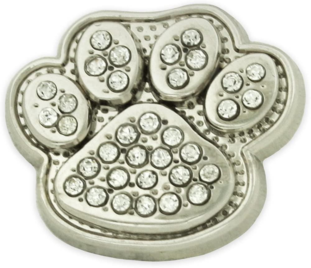 PinMart Small Silver Rhinestone Paw Print Lapel Pin Brooch