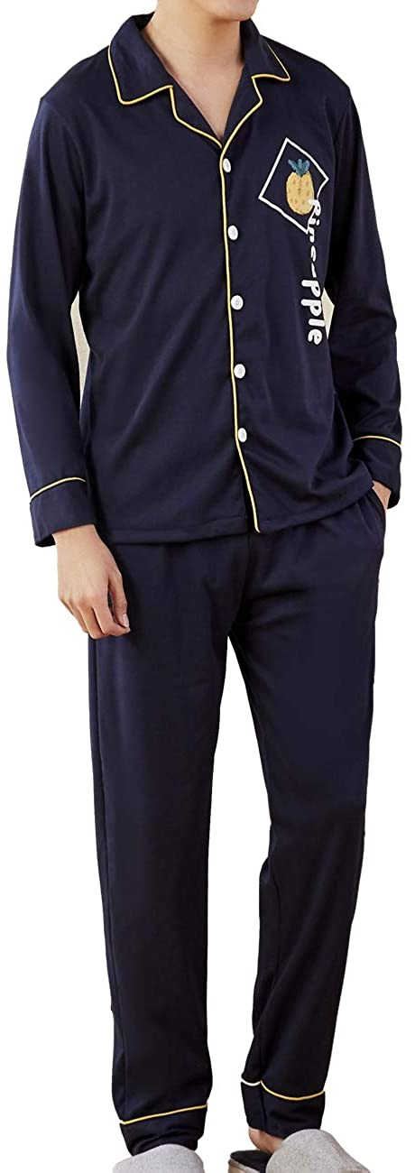 Conlia Pajama Set for Men Pineapple Sleep Wear Suit for Lounge Leisure Home Party(Navy Blue,Large Size)