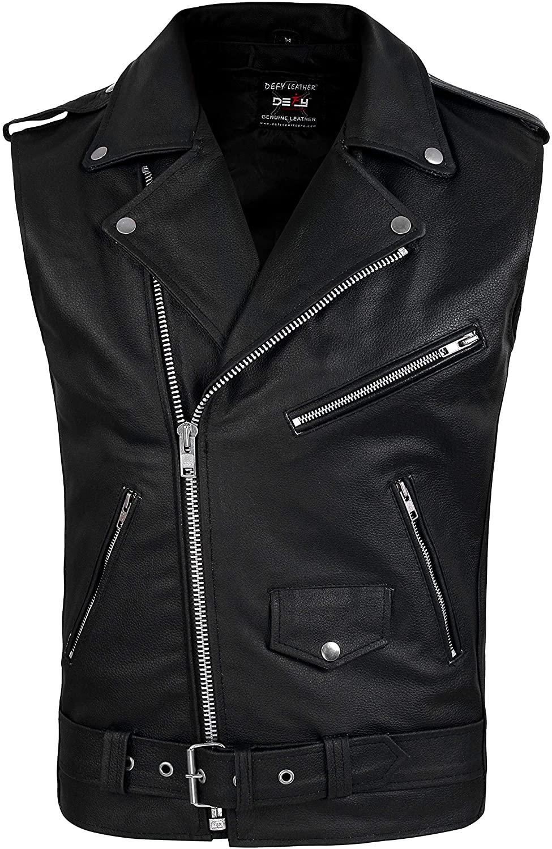DEFY Men's Genuine Leather Motorcycle Biker Concealed Carry Vintage Vest American Sizes (6XL)