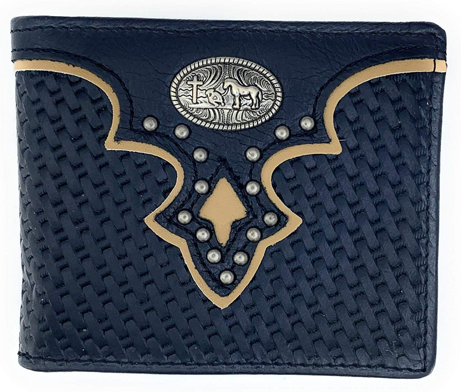 Men's Western Rodeo Genuine Leather Concho Bifold Short Leather Wallet