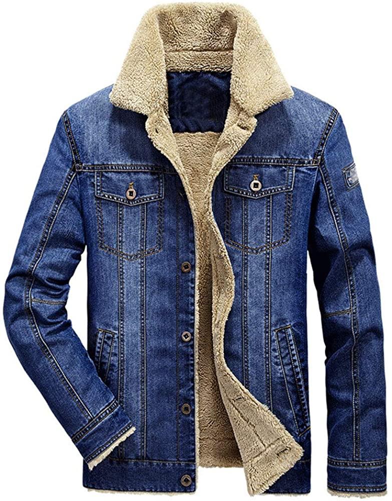 Ladyful Men's Winter Fleece Lined Denim Jacket Classic Sherpa Jean Coat Outerwear