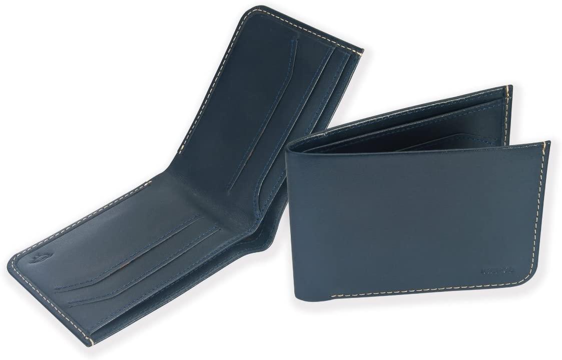 Ikepod Full-grain Leather Bifold Wallet - RFID Blocking Slim Down Men Card Cash Billfold Holder Case - Blue