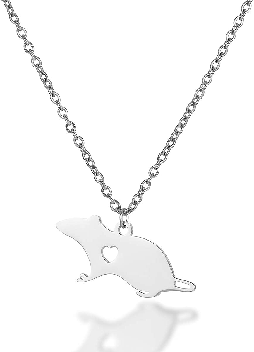 Cute Mouse Accessories Rat Pendant Necklace Animal Stainless Steel Necklace