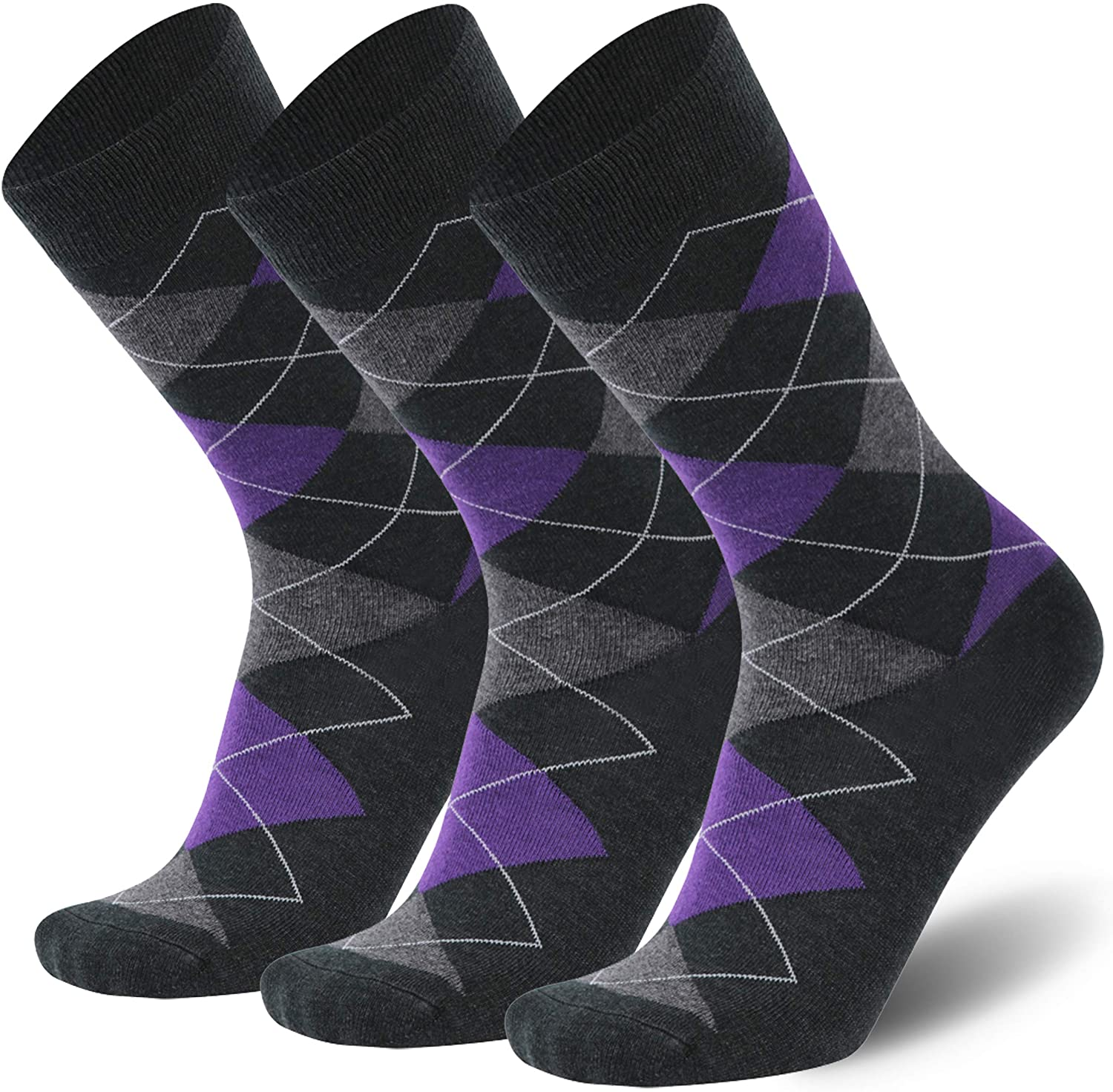 Mens Merino Wool Dress Socks,Calbom Lightweight Solid & Argyle Pattern Casual Crew Socks 3/5/6 PACK