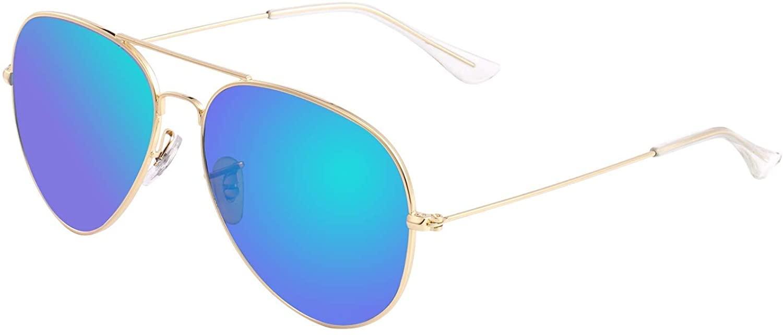 Bio-th Sunglasses for Men Women Aviator Polarized Metal Mirror UV 400 Lens Protection Classic Retro Shades
