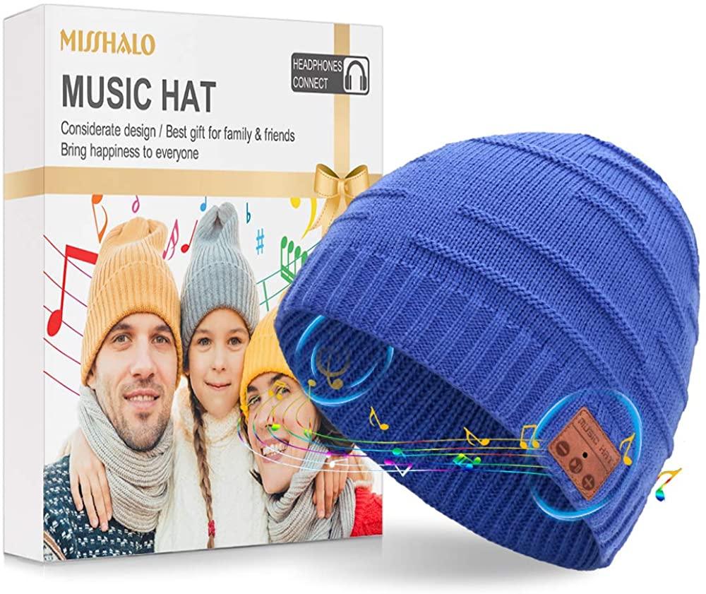 MISSHALO Bluetooth Beanie for Men Knit Beanie Hat Music Hat Beanie Bluetooth Hat for Men