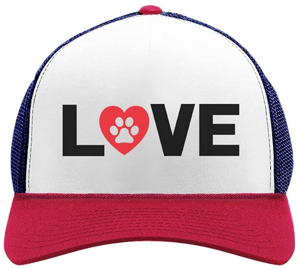 Animal Lover Dog Paw Print - Love Dogs Gift for Dog Lovers Trucker Hat Mesh Cap