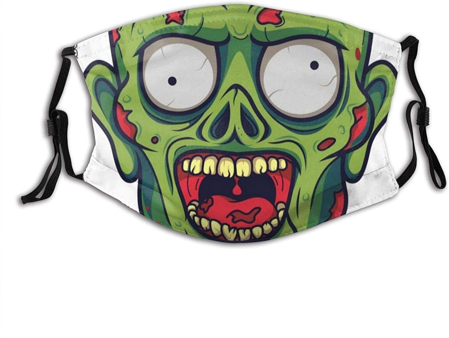 Funny Skull With Open Mouth Face Mask With Filter Pocket Washable Reusable Face Bandanas Balaclava With 2 Pcs Filters