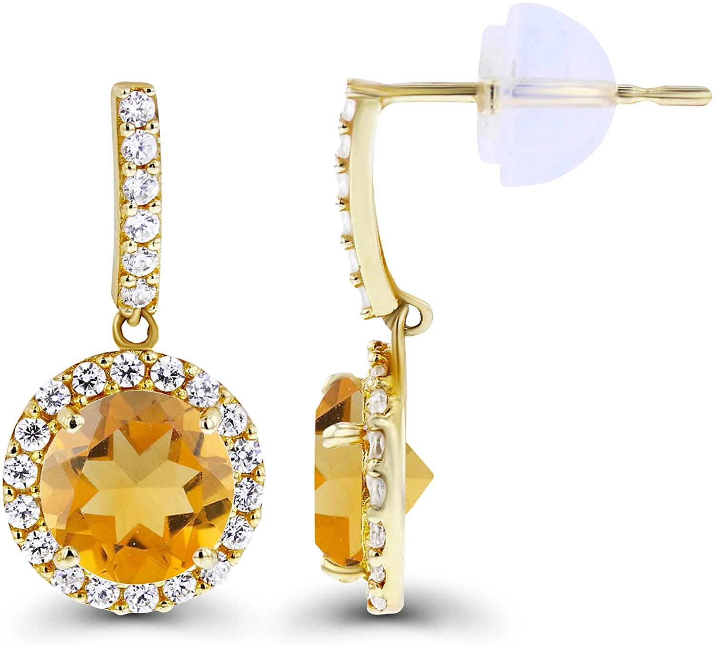 Solid 14K Gold 17x8mm Genuine Birthstone Dangling Stud Earrings For Women | 6mm Round Birthstone | 1mm Created White Sapphire Halo Dangle Earrings For Women