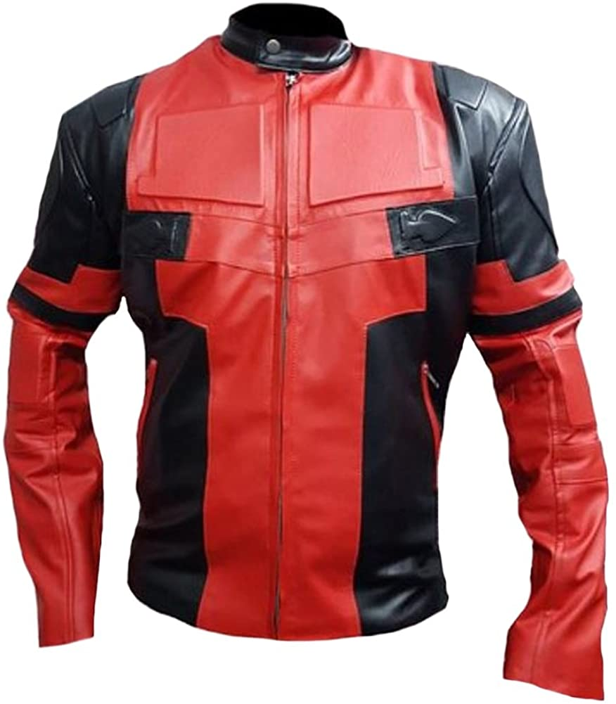 SRHides Men's Fashion Deadpool Real Leather Jacket 3X-Large Cow Red