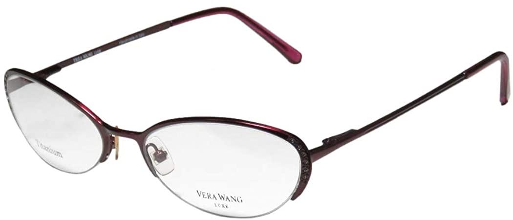 Vera Wang Epiphany Ii For Ladies/Young Women/Girls Half-rim Titanium Crystals Spring Hinges Eyeglasses/Spectacles