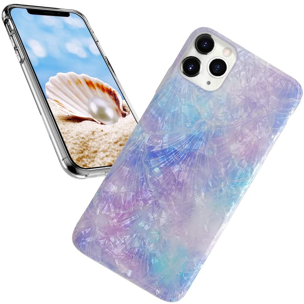 iPhone 11 Pro Case for Girl,iPhone 11 Pro Case for Lady,ASANA Glitter Pearly Luster Shell Pattern Sparkle Bling Soft TPU Flexible Slim Back Phone Case Cover for iPhone 11/XI Pro 5.8,Purple Voilet