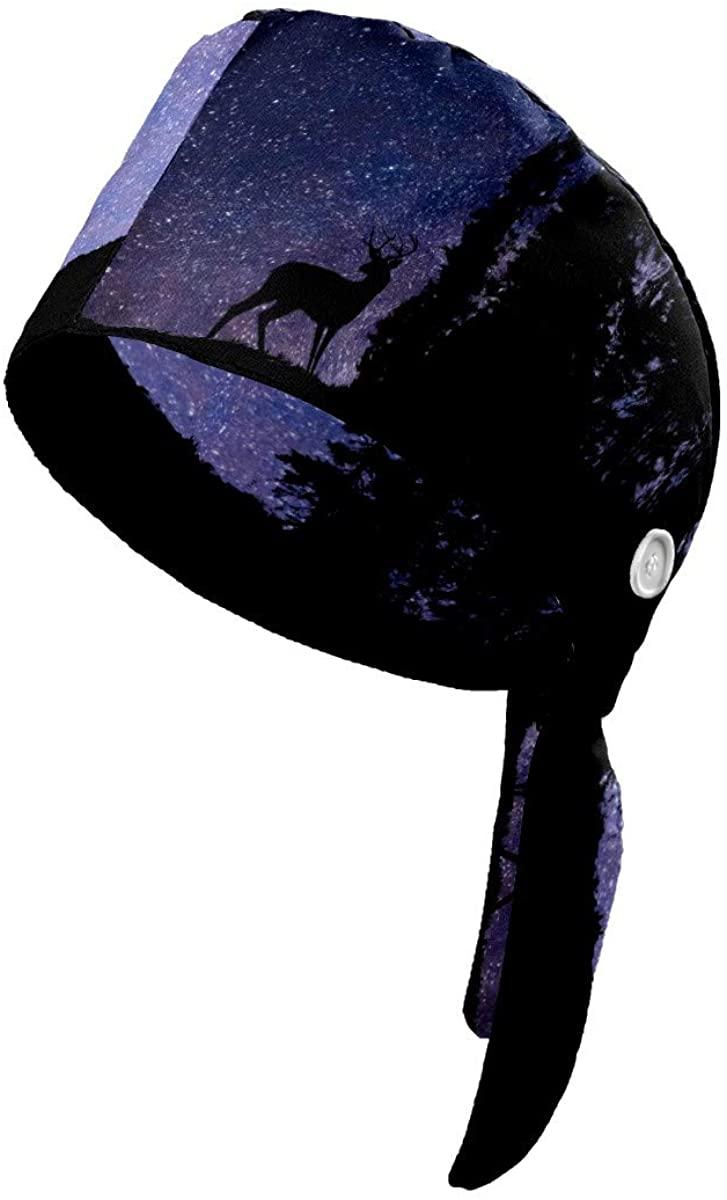 Jemis Working Cap with Button Cotton Sweatband Adjustable Tie Back Hats Bouffant Hats Headwear for Women Men One Size Deer Forest Stars