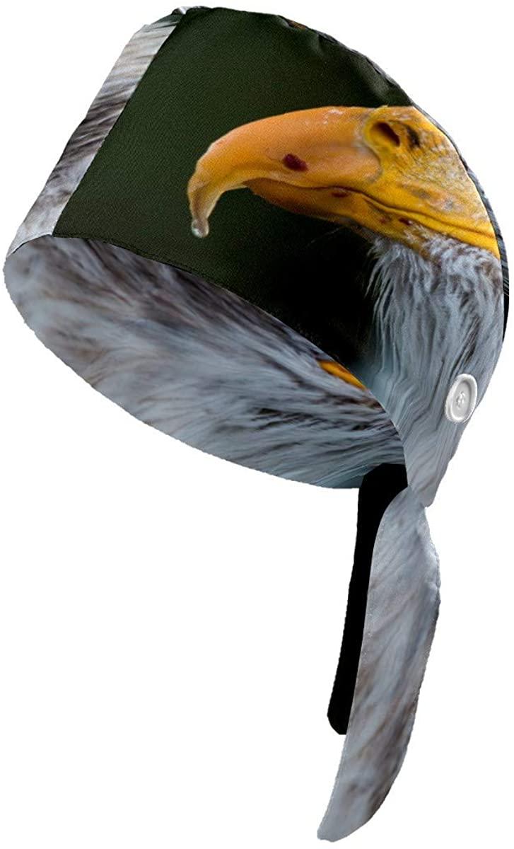 Bald Eagle Beak Working Cap with Button Cotton Sweatband Adjustable Tie Back Hats Bouffant Hats Headwear for Women Men One Size