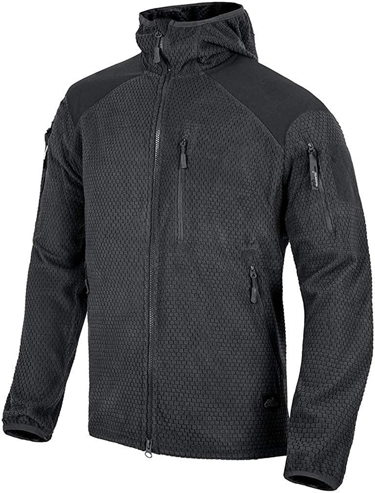 Helikon-Tex Men's Alpha Hoodie Jacket Grid Fleece Black