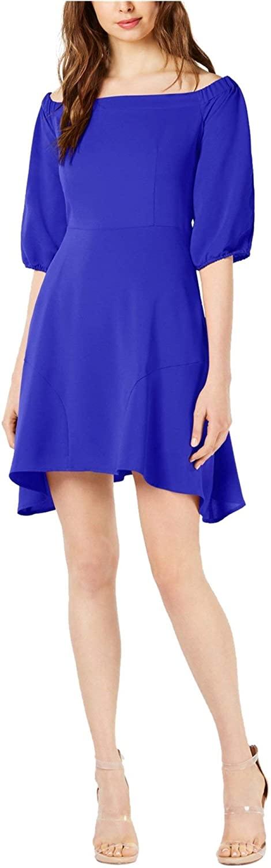 Bar III Womens Off-The-Shoulder Handkerchief Hem Cocktail Dress