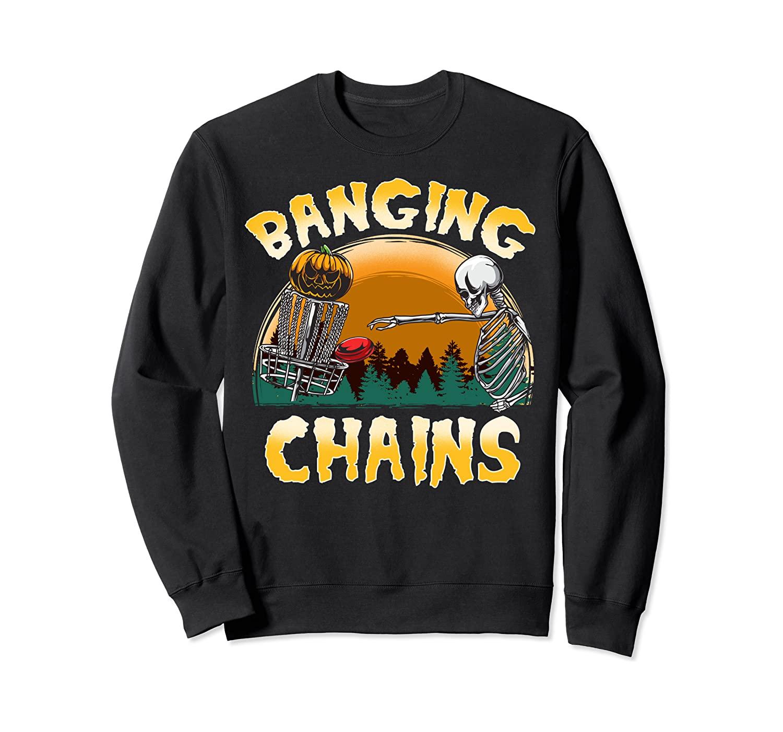 Disc Golf Banging Chains Halloween Skeleton Pumpkin Basket Sweatshirt