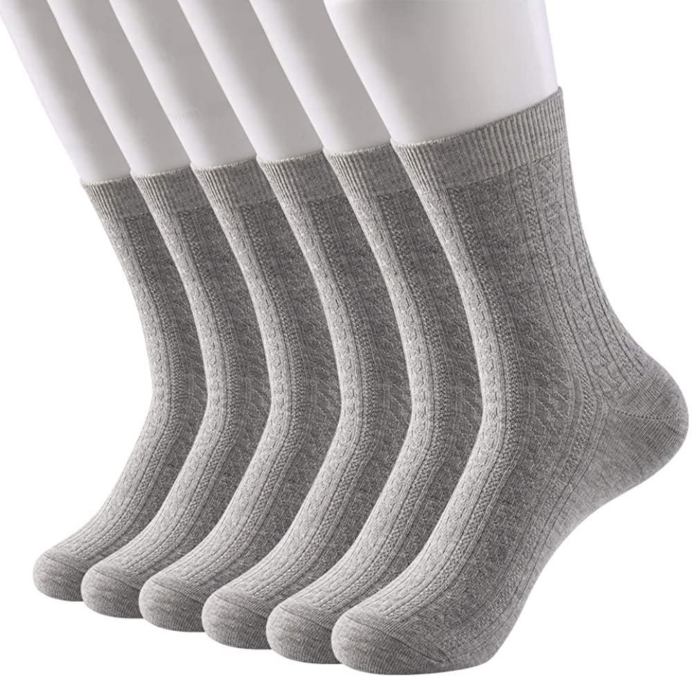 Womens Crew Socks Cotton 6 Pack High Ankle Solid Neutral Color Dress Socks Shoe Size US 7-11