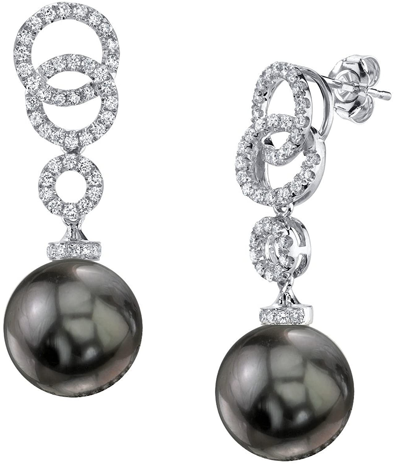 THE PEARL SOURCE 18K Gold Round Genuine Black Tahitian South Sea Cultured Pearl Diamond Link Earrings for Women