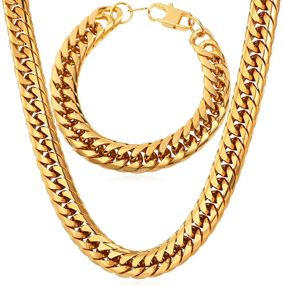 U7 Men Thick Chain Necklace Bracelet Set 316L Stainless Steel 18K Gold Plated 12MM Wide Franco Curb Chains, Length 8.3-36 Inch, 3 Color Choice, Gift for Father or Boyfriend