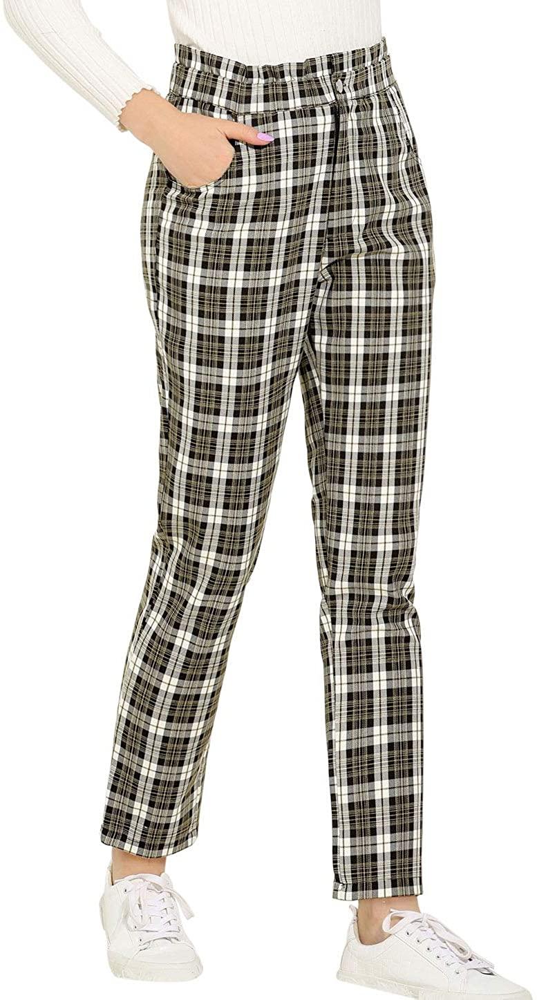 Allegra K Women's Tartan Plaid Pants Elastic High Waist Work Office Trousers with Pocket