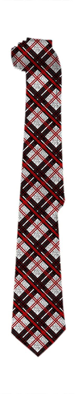 Mens Novetly Plaid Tie,Skinny Woven Buffalo Plaid Check Pattern in Red White Silk Tie Christmas Fashion Men Boys Neckties