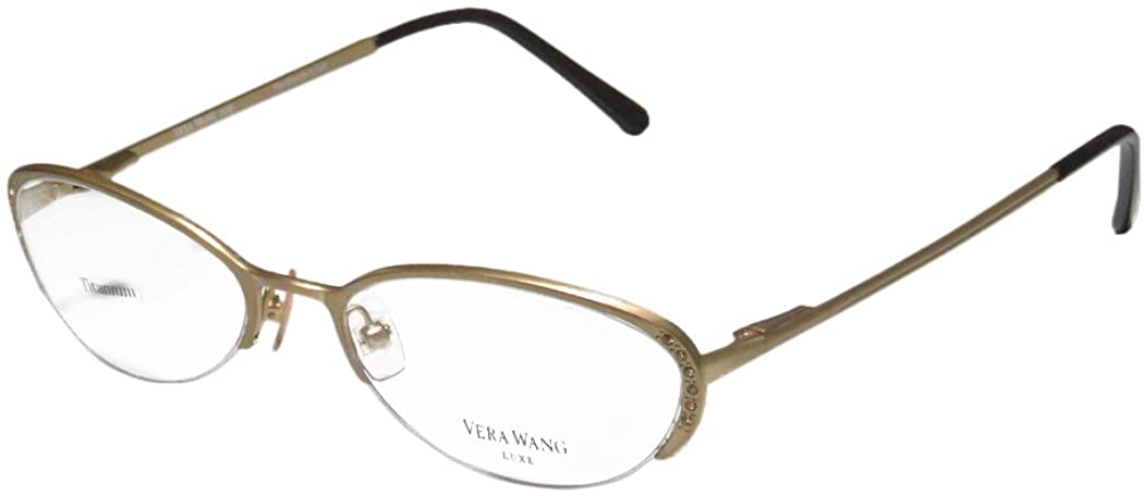 Vera Wang Epiphany Ii For Ladies/Young Women/Girls Half-rim Titanium Crystals Spring Hinges Eyeglasses/Spectacles
